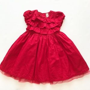 Oshkosh red ruffle Christmas dress VGUC 4T